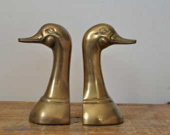 Vintage Brass Duck Head Bookends Mid Century Modern Home Decor Display Ducks Book Ends Pair Set of Two