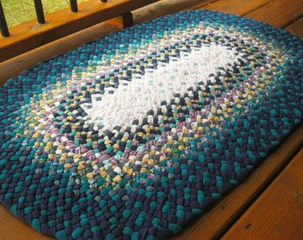 Ready To Ship Handmade Oval Recycled Hand Braided Denim Rug / Rag Rug in Teals for  your Bathroom / Kitchen / Nursery / Entry / Bedroom