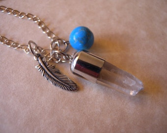 Southwestern Necklace with Quartz, Turquoise, and Feather Charm