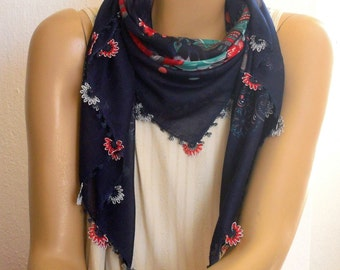 Navy scarf with needle lace trim, turkish oya