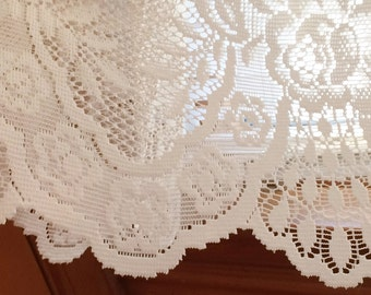 Lace Curtain,Cafe,Lace, Shabby Chic, Window Treatment,Panel, White, Valance, X-wide