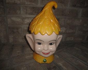Vintage 1960's Christmas Elf Ceramic Pottery Cookie Jar