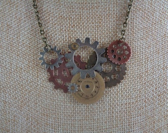 Gear and clock face necklace - Steampunk necklace