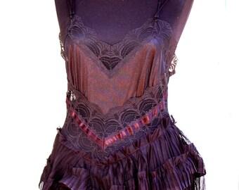 Dress, black dress, goth, Morticia Addams, alternative wedding, upcycled slip dress, noire, layers and frills, long dress, vampire,decadence