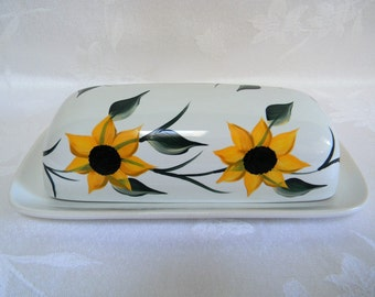 Butter dish, hand painted butter dish, covered butter dish, butter dish with sunflowers, kitchen decor, large butter dish