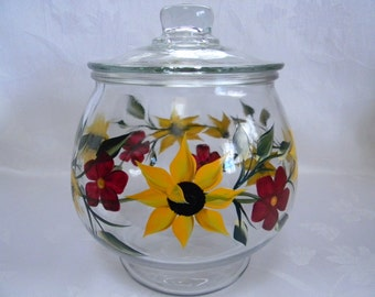 Cookie jar, painted sunflower cookie jar, hand painted jar, jars and containers, kitchen decor