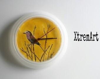 Clock hand painted Bird