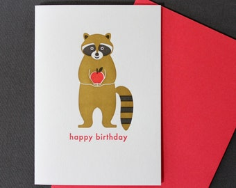 Letterpress Card - Happy Birthday Raccoon