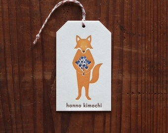 Letterpress Gift Tag  - Fox