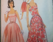 McCalls 5760 Vintage 1960's Evening or Knee Length Gown or Culottes Pattern- 1960's Prom Dress Pattern-1960's Culottes Pattern-Sz 14 bust 34