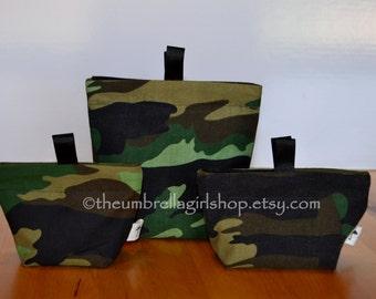 READY TO SHIP Green Camo Reusable Snack Bags - Set of 3