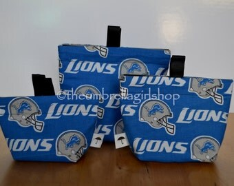 READY TO SHIP Detroit Lions Reusable Snack Bags - Set of 3