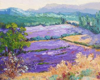 "Impressionist Provence Landscape, Lavender Wonderland Provence - Original oil knife painting, Impasto lavender fields 12x12"""