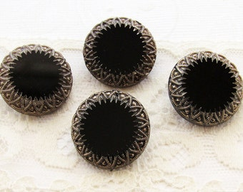 Antique Black and Silver Etched Czech Glass Buttons 23mm Round -4