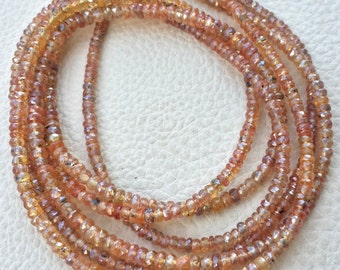 Brand New, AAA Rare NATURAL Mystic Fanta Orange Sapphire Micro Faceted Rondelles,3.5mm Size,Full 15 Inch Long Strand.