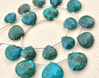 AAA Quality Brand New, Rare BLUE CHRYSOCOLLA Faceted Heart,12-16mm size,Superb Gem Stone
