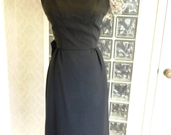 NWTOS Vintage 60s Sandra Sage Black Crepe Dress Bateau Low Back Panel Train Cocktail  S Small