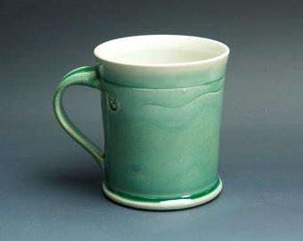 Pottery coffee mug, ceramic mug, stoneware tea cup jade green 14 oz 3388