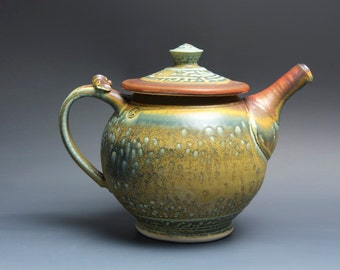 Handmade teapot stoneware tea pot variegated green and iron red 40 oz 3500