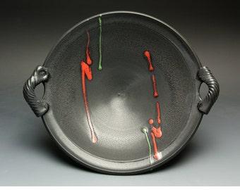 Handmade pottery porcelain serving bowl, fruit, salad bowl soft black 2722