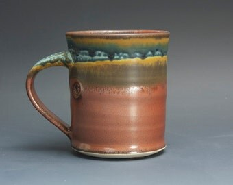 Handmade pottery coffee mug, ceramic mug, stoneware tea cup 14 oz mug  3070