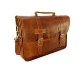 "DIAZ 15"" Genuine Leather Briefcase / Laptop Satchel / Messenger Shoulder Bag in Crazy Horse Tanned Brown - MacBook Air Pro"