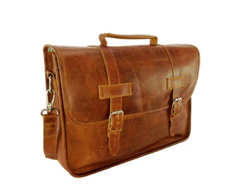 "DIAZ 15"" Genuine Leather Briefcase / Laptop Satchel / Messenger Shoulder Bag in Crazy Horse Tanned Brown - MacBook Air Pro"