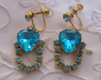 Vintage Gold Tone Screw Back Earrings with Aqua Faceted Heart Rhinestones