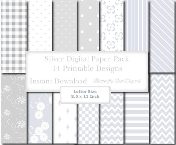 Silver and white digital paper 8 5 x 11 inch letter size 14 for Letter paper size in inches