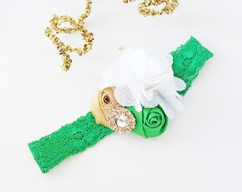 Top of the Morning - green white and gold st patrick's day rosette bow headband