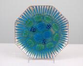 Annemarie Davidson Blue Green Jewels Octagonal Enamel Plate