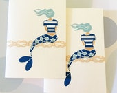 Mermaid Cards,  Stationery, Set of 8