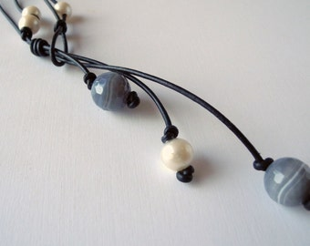 Leather Necklace Freshwater White Pearl Botswana Agate Hand Made Jewelry