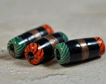 Tube glass beads, orange, green, black and copper, 20mm -  #188