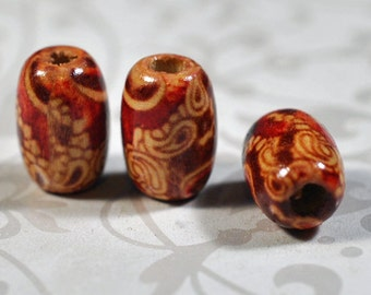 painted wooden beads, 12x9mm, #944