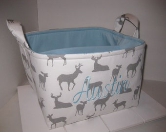 Large Diaper Caddy / Organizer Bin /Grey White Deer Baby Blue Pink- Personalization Available