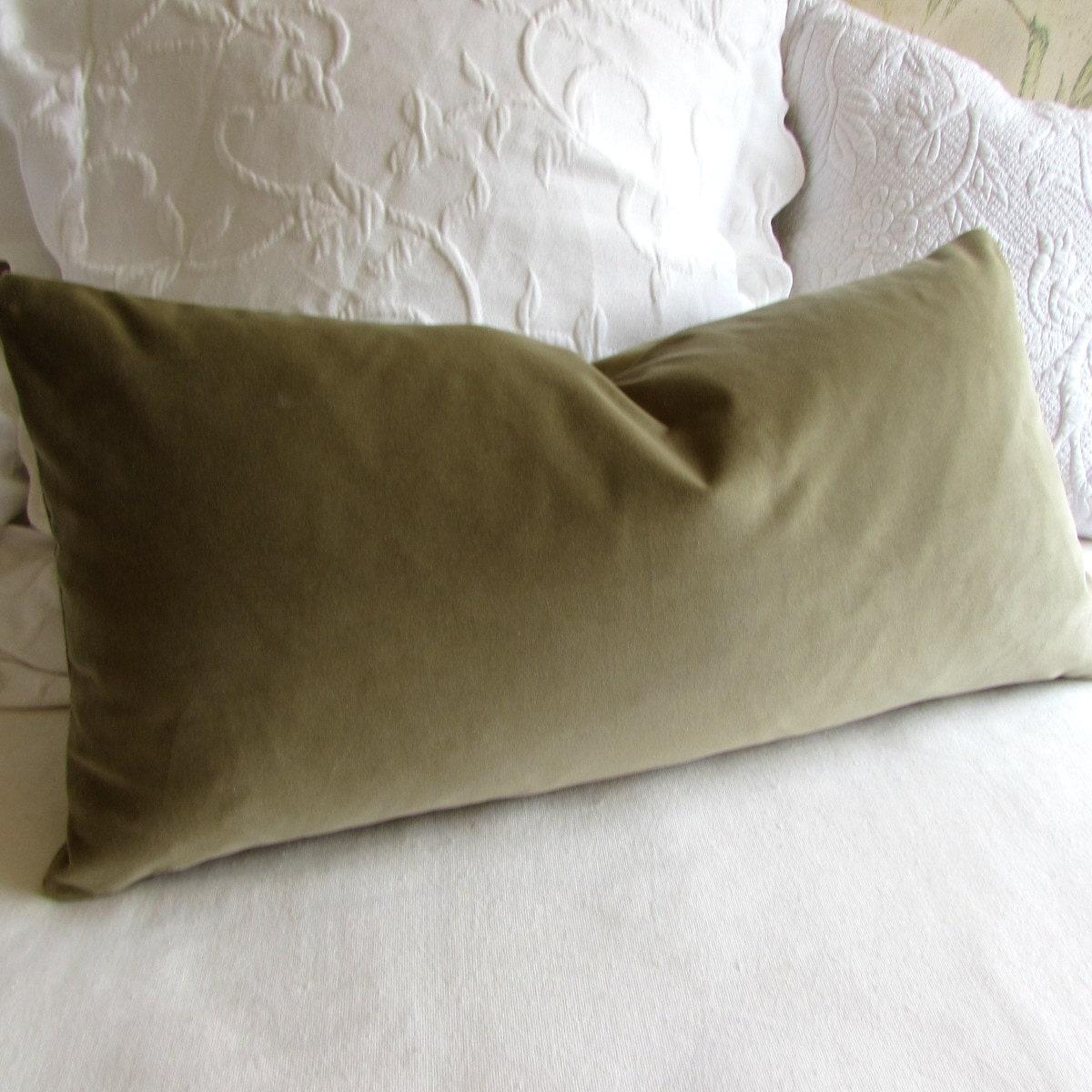 Sage Olive Velvet Lumbar Rectangular Bolster Pillow 13x26