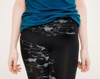 Herd of Cats Printed High Waisted leggings in Grey on Black Bamboo Cotton