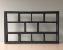 Handmade Shadowbox Display Case Shelves wooden shadow box Distreessed Slate Blue Waterbased Stain Eco Friendly vertical or horizontal