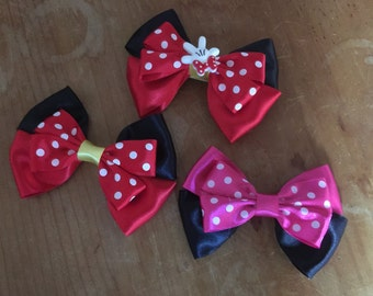Disney Inspired Minnie Mouse Hair Bow (red and pink)