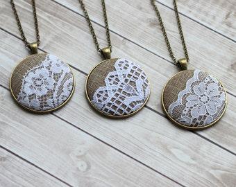 Set of 3 Bridesmaid Necklaces, Lace Pendants, Burlap and Lace Wedding Jewelry, Cottage, Rustic Wedding Gift Set, Unique Bridal Shower Favors