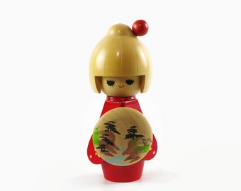 Vintage Kokeshi Doll, Folk Art Doll, Japanese Wooden Doll in Red Kimono, Japanese Home Decor