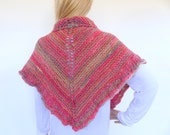 Pink Knit Cape ,Triangle knit Shawl , Hand knit shawl, hand knitted wrap,  Knit Poncho