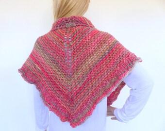 Triangle knit Shawl Hand knit shawl hand knitted wrap  Knit Poncho
