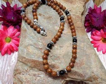 Brown Jasper & Obsidan Necklace - Gemstone Necklace - Brown Necklace - Beaded Necklace