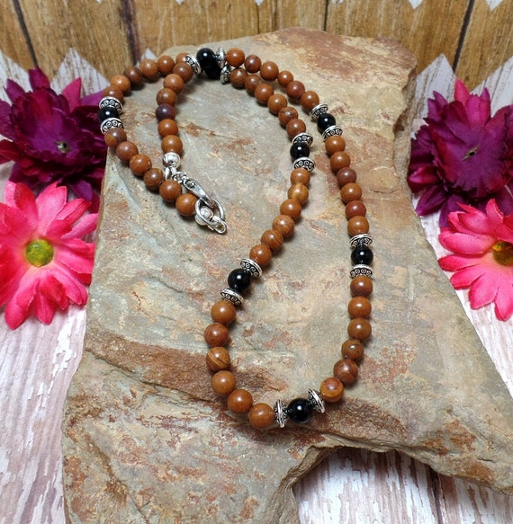 Brown Jasper & Obsidian Necklace - Gemstone Necklace - Brown Necklace - Beaded Necklace
