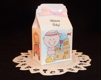 Beach Baby Shower Favor Box Kits - Girl - Set of 12