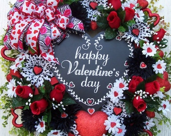 LG Valentine Wreath  Sign Black Red White