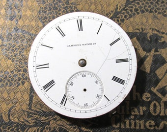 Pocket Watch VINTAGE Pocket Watch Parts Porcelain FACE Hampden Watch Co. Guts Plates Gears Watch Repair Jewelry Supplies (L192)