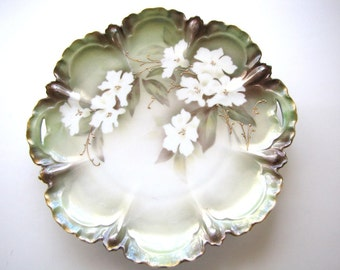 Antique RS Prussia Cake Plate Floral Hand Painted Porcelain from AllieEtCie